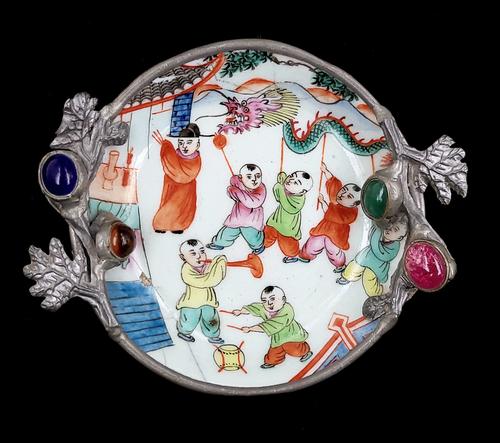 Antique Qing Dynasty Guangxu Porcelain Dragon Pewter Trinket / Ring Dish Plate