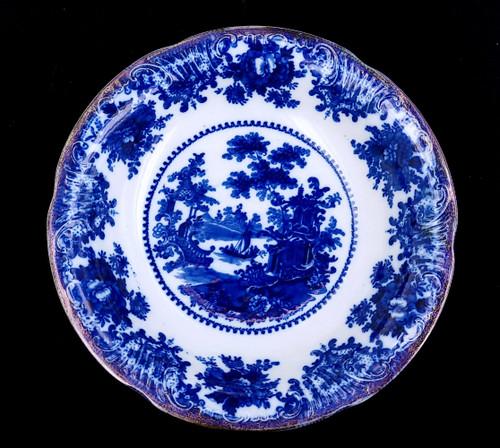 """Antique Flow Blue Staffordshire Fairy Villas W Adams  Porcelain Serving Bowl 10"""""""