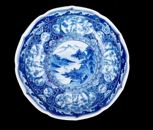 Antique Vintage Japanese Jitsu-To Cobalt Blue Mt. Fuji Porcelain Serving Bowl