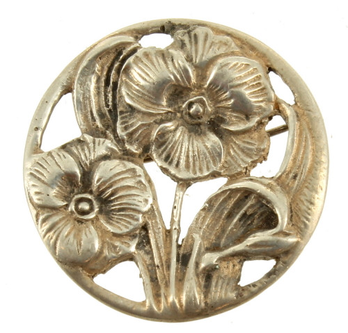 """Antique Deco Sterling Sand Cast Flowers Reticulated Heavy Round Pin 1.25"""" Wide"""