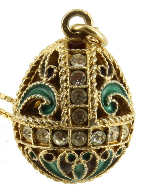 "Vintage Sterling Gold Cloisonne Enamel Heavy Egg Drop Necklace Russian Italy 18"""
