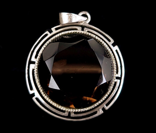 Vintage Art Deco 700 Silver Faceted Smoky Quartz Ornate Pendant