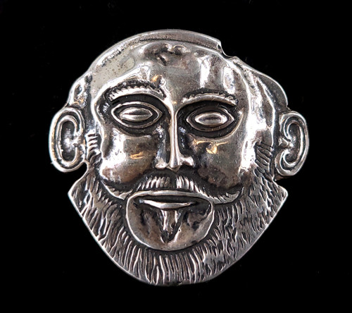 """Vintage 835 European Silver Mask of Agamemnon Funerary Mask Pin brooch 1.5"""""""