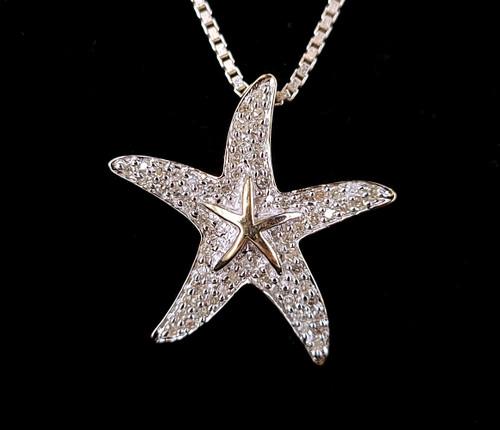 "Vintage 10k White Yellow Gold Pave Diamond Starfish Nautical Pendant Necklace 18"""