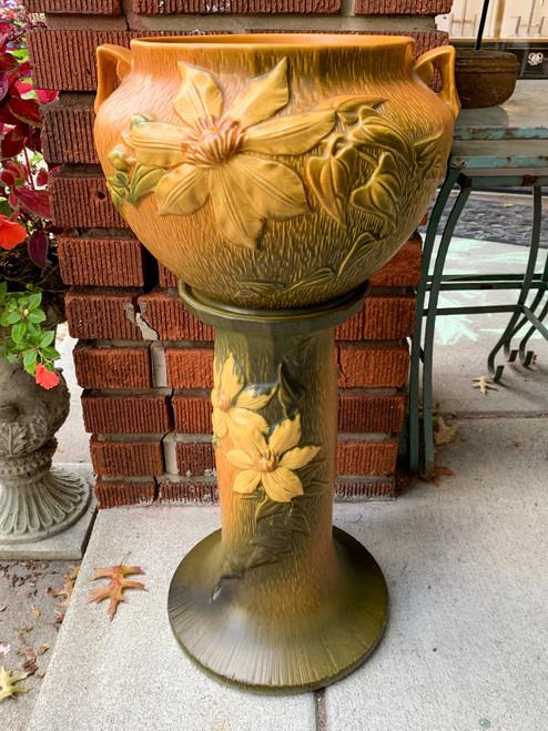 Rare Vintage Roseville Pottery 667-8 Clematis Jardinière And Pedestal 1940's