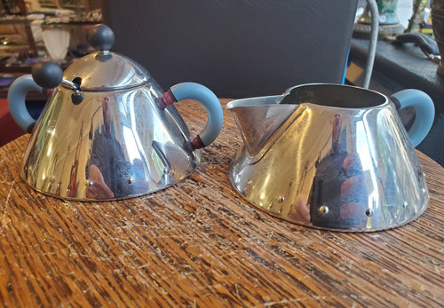 Alessi Michael Graves Stainless Steel Sugar and Cream w Spoon Set Blue Handle