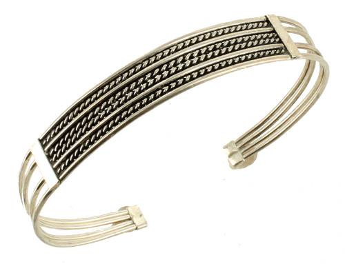 """Vintage Sterling Soft Bendable Rope Twist Wire Cuff Bracelet Small To Large 7"""""""