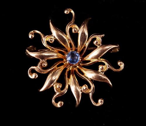 Antique Victorian 10k Gold Star Sunburst Flower Cornflower Blue Spinel Brooch Pin