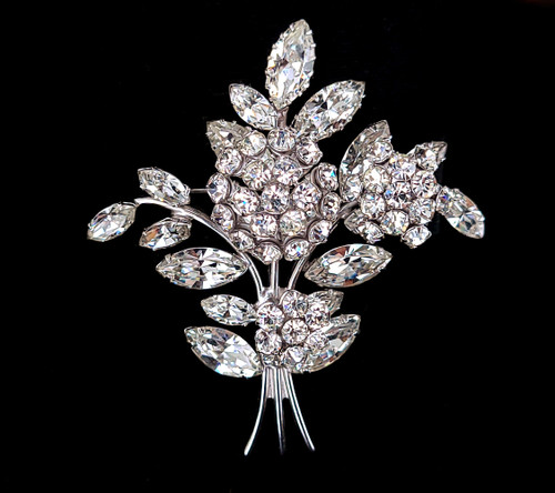 "Vintage Denbe Trembler Quivering Rare Flower Rhinestone Pin Brooch 3"""