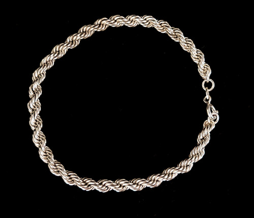 """Vintage Sterling Silver 5mm Thick Rope Chain Bracelet 8"""""""