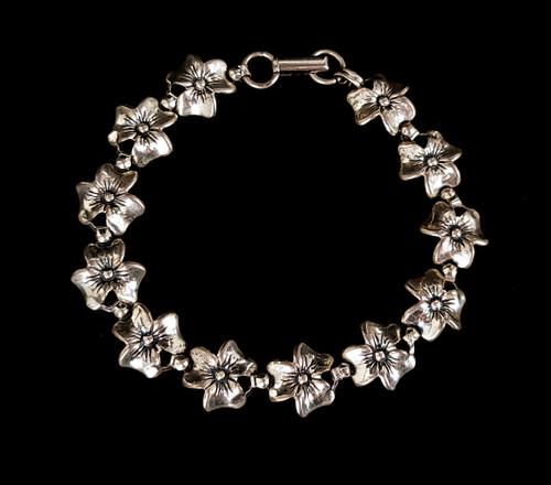 """Vintage Art Deco Sterling Silver Beau Flower Floral Link Bracelet 7"""""""