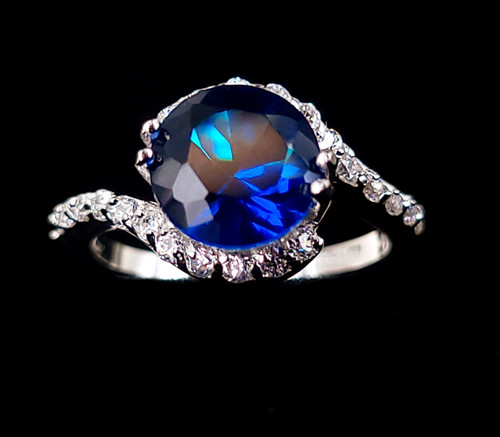 Vintage Sterling Silver Deep Sapphire Blue Clear Cubic Zirconia CZ Ring sz 5