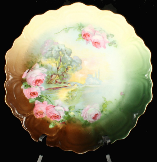 """Antique Z. S. & CO. Bavaria Wall Cabinet Plate Landscape Roses Green  9 5/8"""" W"""