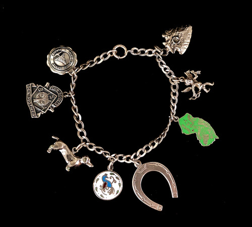 """Vintage Sterling Silver Multi Charm New Jersey Maine Cub Scouts Dachshund Charm Bracelet 7"""""""