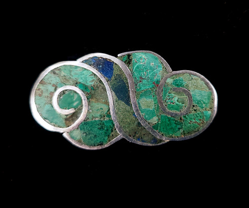 """Vintage Taxco Sterling Silver Inlaid Turquoise Cloud Shaped Brooch Pin 2"""""""