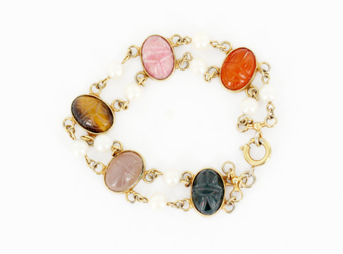 "Antique Deco 12K Gold Filled Fresh Water Pearls MultiGemstone Scarab Bracelet 7"""
