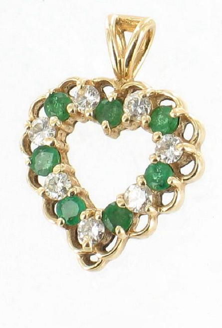 Vintage 14K Gold .33CT Emeralds & .25 CT Diamond Heart Pendant Charm Delicate!