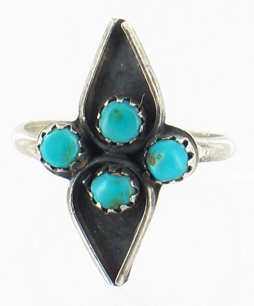Old Pawn Sterling Zuni Needlepoint Sleeping Beauty Turquoise Native  Ring Sz 5