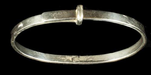 "Vintage Sterling Mexico Heavy Buckle Latch Bangle Bracelet  7"" Adjustable"