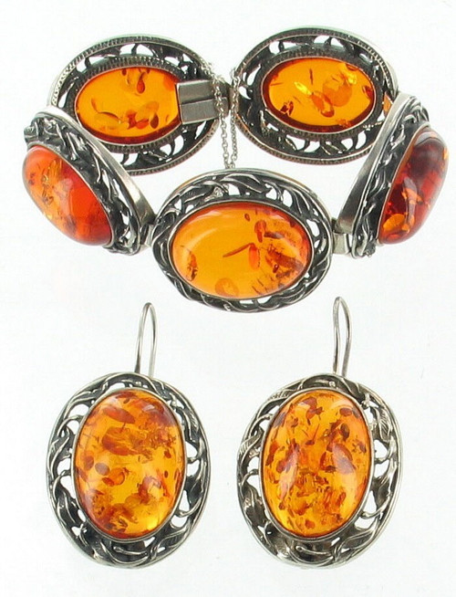 Antique Persian Deco Sterling Baltic Amber Leaf Link Big Bracelet Earrings  Set