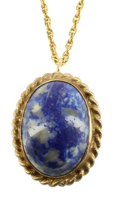"""Rare Vintage 12KT GF Gold Filled HG Brite Blue Lapis Quartz Necklace Pin 18"""""""