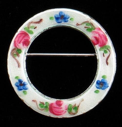Vintage  Sterling Blue Rose Forget-Me-Not Guilloche Enamel Circle Pin La Mode
