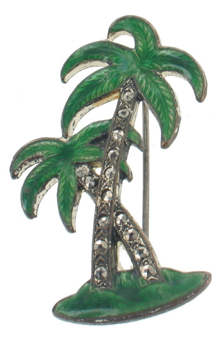 "Antique Deco Green Enamel Marcasite Palm Trees Pin So Pretty  Silver Tone 1.6"" H"