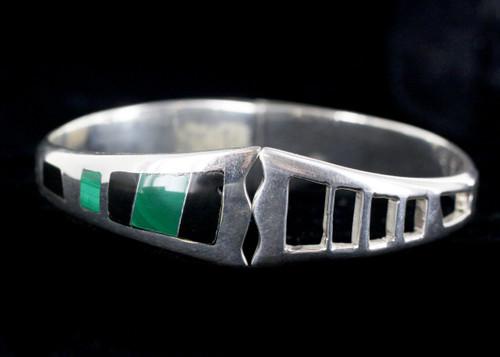 Vintage Mexico Modernist Sterling Silver Inlay Malachite Onyx Bangle Bracelet