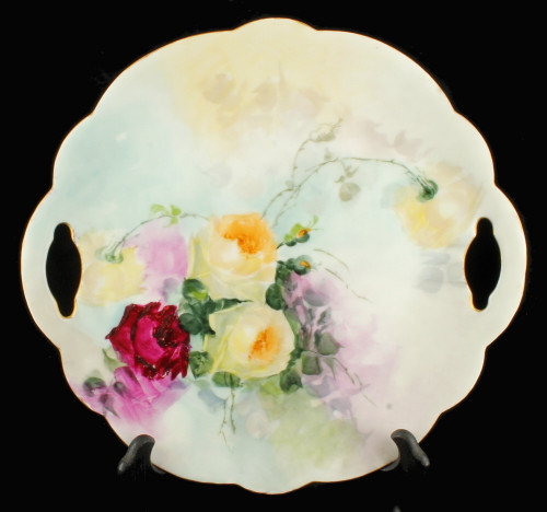 Antique Limoges France Hand Painted Double Handled Cake Plate Pink Yellow Roses