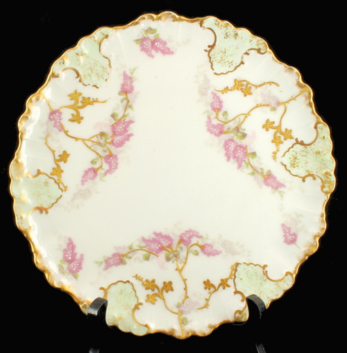 ANTIQUE  LIMOGES HAND PAINTED CABINET PLATE STYLIZED LILACS CARTOUCHES AKCD