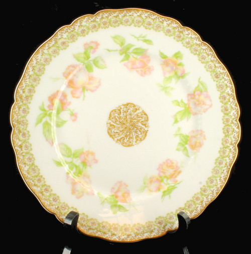"ANTIQUE HAVILAND LIMOGES CABINET PLATE ROSE DROP VARIANT GREEN FLOWERS  9 5/8""W"