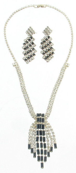 Vintage Crystal Rhinestone Black Baguette Fringe Necklace Dangle Earrings Set