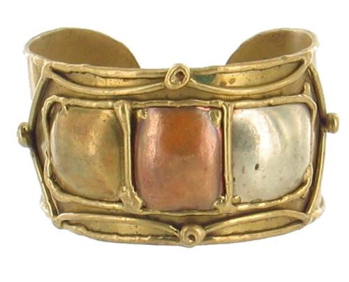 Vintage Brutalist Brass Cuff Bracelet Jere Style w/ Copper Silver Bronze Squares