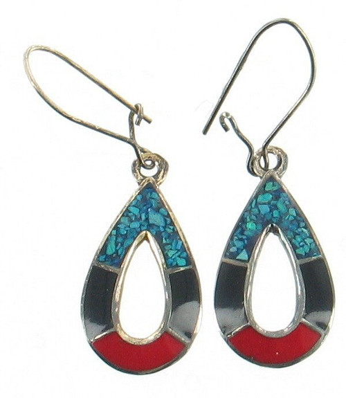 Vintage Sterling Mexico Coral Onyx Turquoise Inlaid Mosaic Pear Drop Earrings