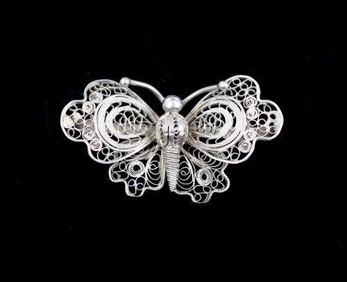 Antique 800 Silver Ornate Filigree Butterfly Brooch Pin Made In Italy