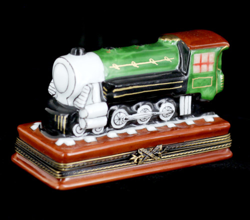 VTG Limoges Peint Main Rochard Green Train Trinket Box Collectable Miniature