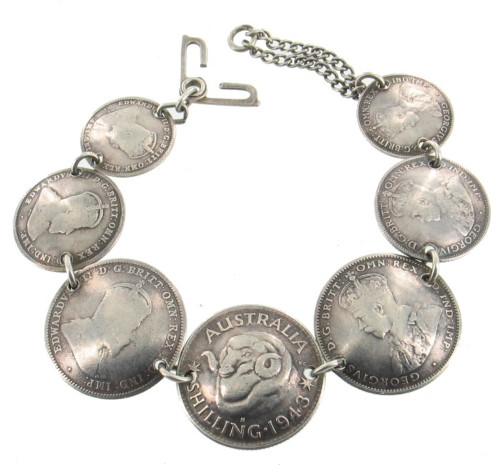 Antique WWII Trench Art Silver Coin Bracelet Australia 1910, 1937 Shillings 7.5""