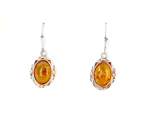 Vintage Sterling Silver Baltic Honey Amber Organic Wire Setting Dangle Earrings