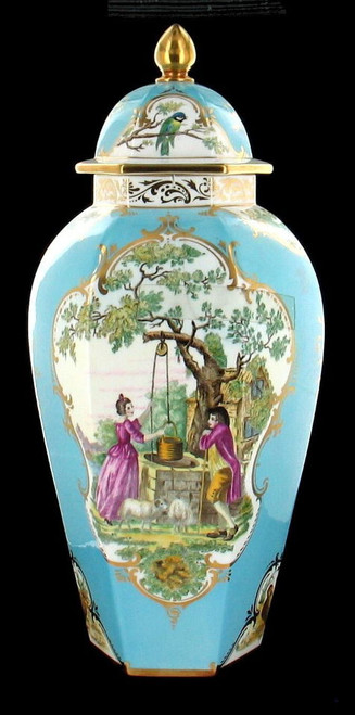 "Beautiful Large Royal Worcester Chinoiserie Ginger Jar Birds Rural Scene 16"" H"