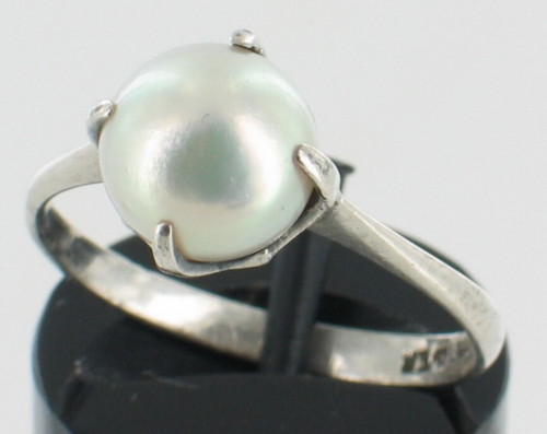 Antique Silver Chinese Export Silver 8mm Pearl Lustrous Elegant Simple Ring 7.25