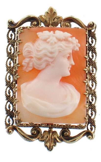 Antique  14k Gold Sq Cameo French Style Ornate Frame Pin Pendant Victorian w Chain