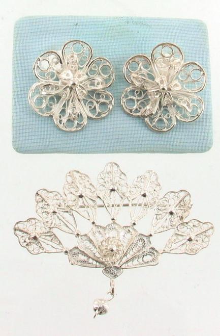 Vintage Sterling Silver Filigree Wire Work Fan Pendant Pin & Flower Earrings Set