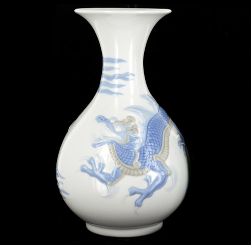 Vintage Lladro Porcelain Blue Chinese Dragon Pear Shaped Vase Retired
