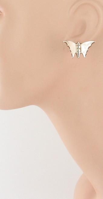 Antique Deco Sterling Silver Screw Back Butterfly Earrings 1940'S Pretty!