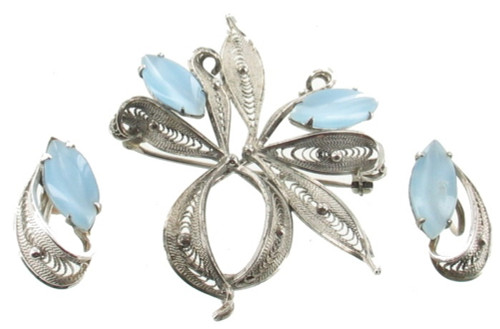 Vintage Sterling Filigree Ribbon Pendant/ Pin Earrings Set Blue Moonstone Enzell