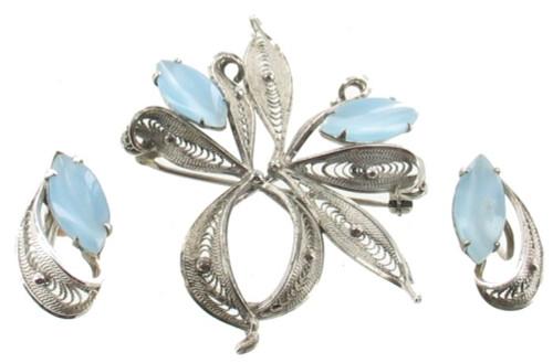 Vintage Sterling Filigree Ribbon Pendant/ Pin Earrings Set Blue Moonstone Enzell
