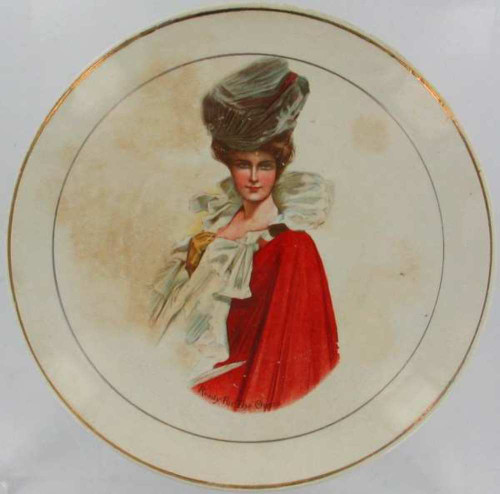 """Antique Harrison Fisher Gibson Girl Ready For The Opera Gold Portrait Plate  9"""""""