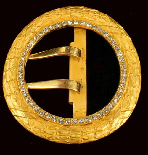 Vintage Louis IV Style Laurel Leaves Pave Paste Rhinestone Russian Gold Buckle 2.75