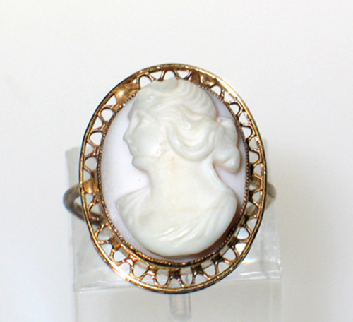 Antique 10k Gold Pink  Shell Grecian Roman Lady Left  Cameo Filigree Ring 4.5