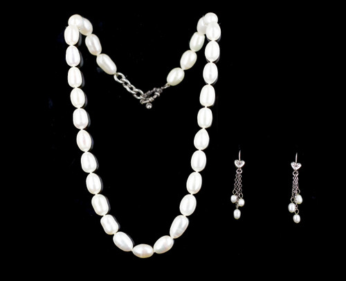 Vintage Matching Set Sterling Silver Fresh Water Pearls Earrings Necklace 18""